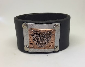 Black Leather Cuff Bracelet for women with Copper heart Leather wrist cuff Leather Bracelet Boho Jewelry Leather jewelry Gift for her
