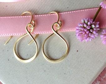 Gold vermeil infinity earrings, figure eight, lightweight gold hoop modern minimalist yoga mindfulness jewelry E412