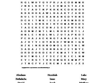 Bible Names Word Search Puzzle