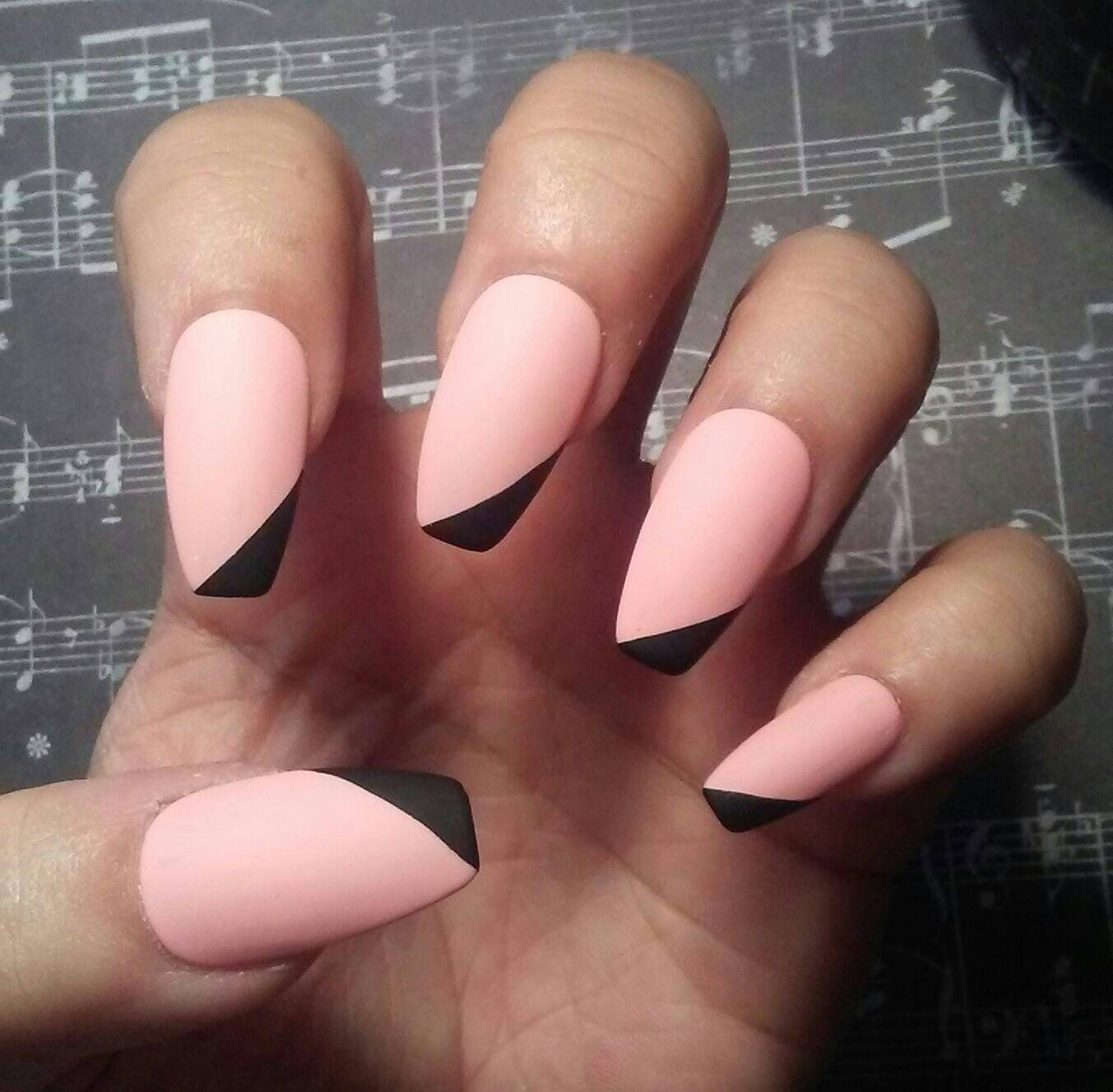 Matte Pink Coffin Nails with Black Tips, Light Pink Acrylic Nails ...