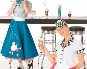 Sewing Pattern 1950's Vintage Poodle Skirt Costume, Misses Soda Jerk Waitress Costume, Retro 50's Simplicity Pattern 3847, Plus Size Avail.