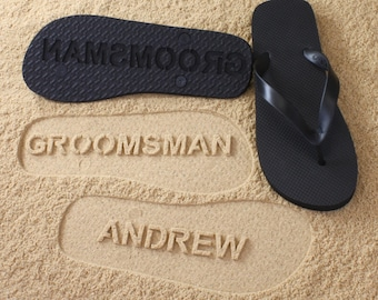 Groomsmen Flip Flops Personalized Groom Best Man Groomsman Gift Wedding *check size chart, see 3rd product photo*