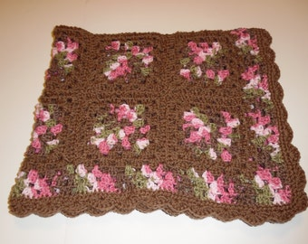 CLEARANCE Crochet baby afghan, granny square, pink camo, baby girl, photo prop, baby blanket