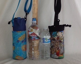 Insulated tote for 16 - 25 oz. (half liter to 750ml) containers sea turtle or honu