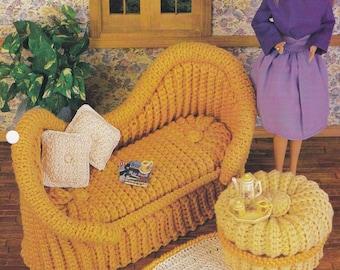 French Settee, Annie's Fashion Doll Furniture Crochet Pattern Club Leaflet FC0102