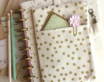 Happy planner cover - Gold Pocket Planner Pouch - Gold Planner Band - Gold planner cover - planner accessories bag - gold pencil pouch