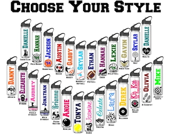 Personalized Water Bottles, Sports Water Bottle, Basketball, Football, Soccer, Volleyball, Cheer, Hockey, Softball, Baseball, Swim, Team