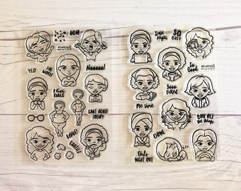 african american stamps, planner stamps, planner stamp sets, clear planner stamps, black girl planner stamps,  Moji Girls, mojigirls