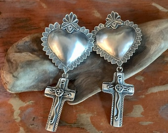 EBH4 The Santa Fe Heart repousse over the Chimayo Cross sterling silver southwestern native style earrings