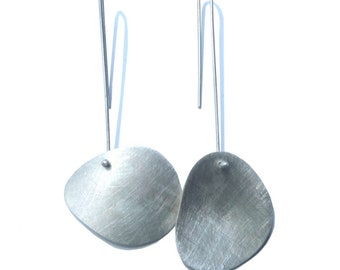 Irregular asymmetric  earrings, minimal design, long or short hook