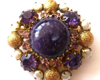 hand-made brooch, gold-plated,