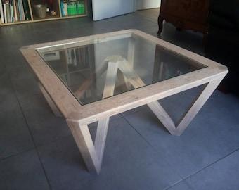 W oak coffee table