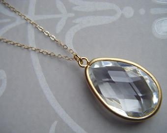 Clear glass necklace etsy large crystal pendant oval pendant clear crystal drop layer necklace layer pendant aloadofball Images