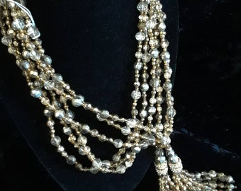 Silver and gold tone glass bead lariat necklace