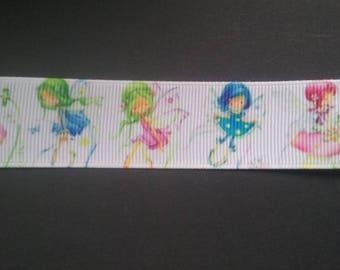 Grosgrain Ribbon - Fairies, elves of spring - multicolored - 25mm