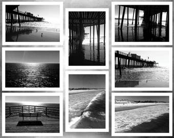 PIsmo Beach. A Set of Eight Blank, Bi-fold, Scenic, Black and White Note Cards.