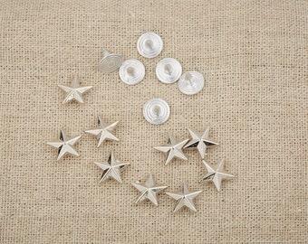 50Pcs 12 mm /  Silver Star/  Rivets /Silver  Stud /#12