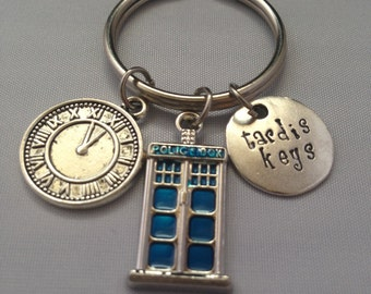 Tardis Keys, Dr. Who Inspired Handstamped Key Chain