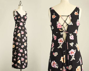 90s Vintage XOXO Black Floral Print Corset Back Maxi Sun Dress / Size Small / Grunge Revival 1990s Hipster Style