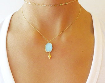 Aqua Druzy Gold Dangle Necklace - Druzy Necklace - Druzy Jewelry