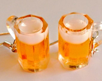 Beer Mug Earrings - Beer Earrings - Miniature Food Jewelry - Frothy Mugs - Inedible Jewelry - Oktoberfest Jewelry - Kawaii Jewelry - Pretzel