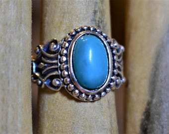 Turquoise and Sterling Silver Ring, size 8
