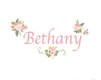 Floral Name Wall Decal-Wall Decals-Wall Stickers-Custom Name Decal-Floral, Flowers, Vintage, Retro-Girls Wall Decor, Girl Wall Art