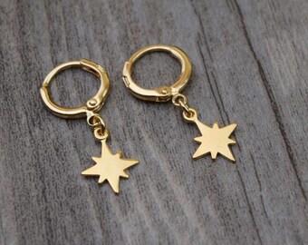 gold north star hoops endless hoop huggie dangle earring simple earrings everyday/gift for her