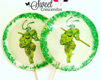 Turtles  Inspired Lollipops- Hard Candy Lollipops- Birthday- Party Favors