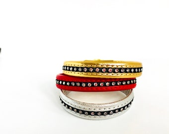 Swarovksi Crystal Leather Bracelet - available in three colours