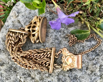 Victorian Pocket Watch Chain and Seal Fob