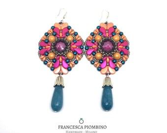 Big earrings, maxi earrings, fuchsia and orange earrings, oil earrings, beaded earrings, Swarovski earrings.