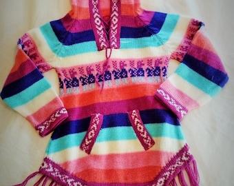 5T Purple Rainbow Peruvian Poncho