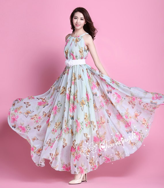 90 Colors Chiffon Butterfly Pink Flower Long Party Evening