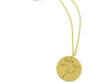 """Handwriting pendant 14k yellow gold - Custom Personalization - Memorial Gift - Actual signature on gold -  3/4"""" size (up to 20 letters)"""