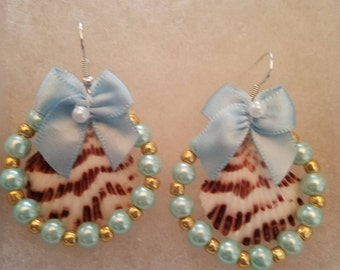 Seashell Chandelier Earrings, Blue and Brown with Bow and Pearl Beads