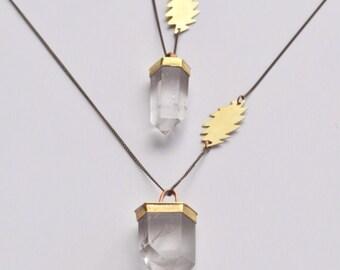 FOREVER GRATEFUL GDF  // Quartz Crystal Wand & 13 Point Lightening Bolt Necklace