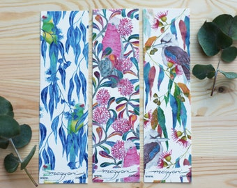 3pack Bookmark Australian Native Flora and bird watercolour eco-friendly bamboo paper.