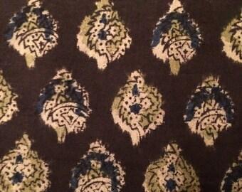 Indian Block Print Fabric KK 27 Brown