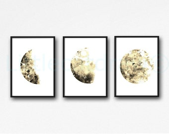 Moon Watercolor Painting Print Luna Sepia Set Of 3 Lunar Phases Art Home Decor Wall Art Prints