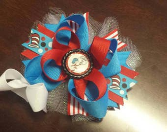 Thing1  or Thing 2 hair bow / Dr. Suess / The cat in the hat / toddler/ girls/ baby / boutique hair bow