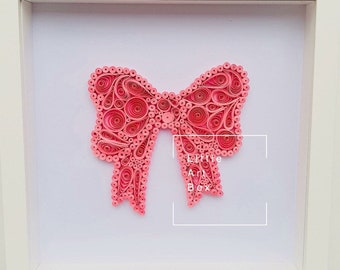 Handmade paper quilled pretty pink bow framed