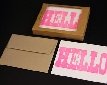Letterpress Fluorescent Hot Pink Hello 4pk Card Set