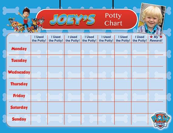 Paw patrol potty chart potty training chart potty reward