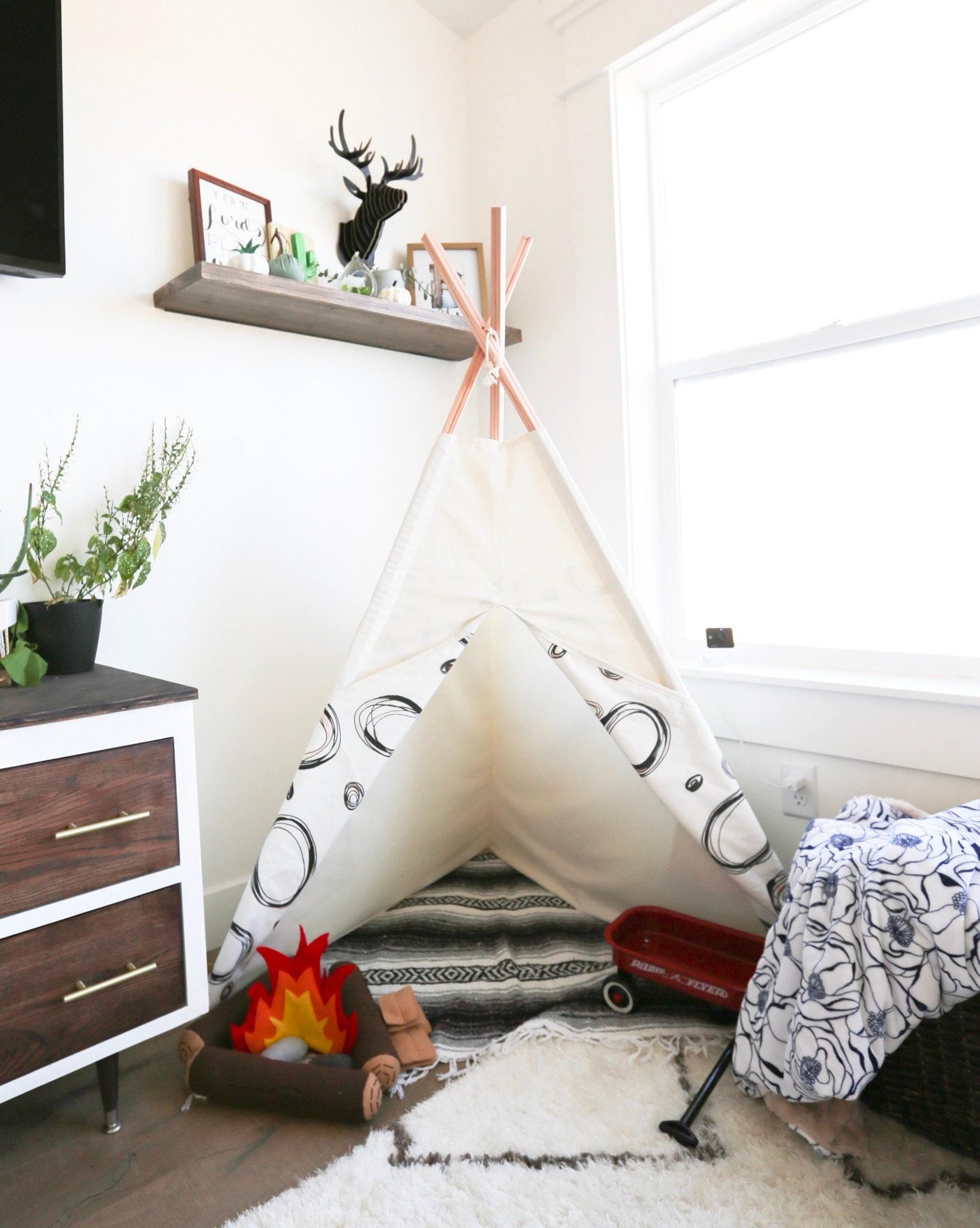 Cream Threepee Teepee Kids Play Tent Three Sided to fit