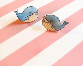 Kawaii Whale Earrings, Cute Smiling Whale Studs, Ocean Sea Creature Stud Earrings, Handmade Animal Earrings, Gift for Her