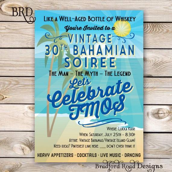 Vintage Beach Invitation 30th 40th 50th 60th Birthday