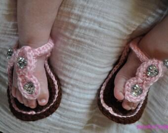 Baby sandals, Crochet shoe, brown baby shoes, baby crochet booties, crochet baby sandles, girl sandals, summer flip flops,