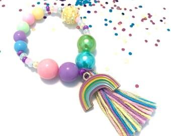 Pastel Rainbow Charm Bracelet - rainbow jewelry, rainbow charm, rainbow baby, rainbow charms, easter charm bracelet, pastel charm bracelet
