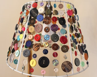 Upcycled buttons lampshade home decor lighting handmade interior design craft sewing wire colourful light shade lamp upcycling recycling